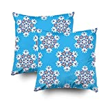 ROOLAYS Decorative Throw Square Pillow Case Cover 18X18Inch,Cotton Cushion Covers blue abstract tiled pattern snowflakes Both Sides Printing Invisible Zipper Home Sofa Decor Sets 2 PCS Pillowcase