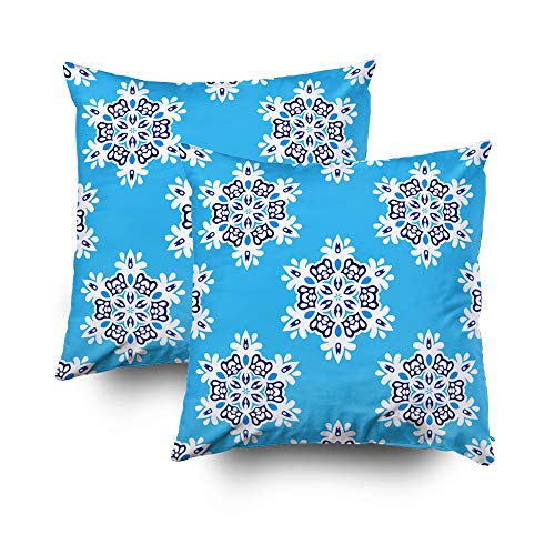(ROOLAYS Decorative Throw Square Pillow Case Cover 18X18Inch,Cotton Cushion Covers blue abstract tiled pattern snowflakes Both Sides Printing Invisible Zipper Home Sofa Decor Sets 2 PCS Pillowcase)
