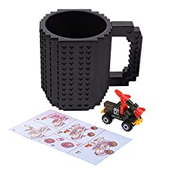 FUBARBAR Build On Brick Mug - BPA-Free 12oz Blocks Coffee Cup, Comes with Build-On Building Bricks, Plastic Mug for Coffee Tea Beverage Drinking, Creative and Funny (Black)