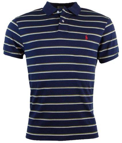 Polo Ralph Lauren Mens Custom Fit Striped Knit Polo Shirt - S - Navy/White/Yellow