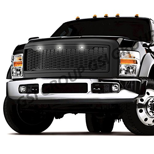 GSI Grille fit for 2008-2010 Ford Super Duty F250+F350+F450+F550+F660 Raptor Style Matte Black Mesh Grille W/3x White LED Replacement Shell Packaged Grille (Matte Black)