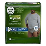 Depend FIT-FLEX Incontinence Underwear for Men, Maximum Absorbency, XL, Gray, 15 Count