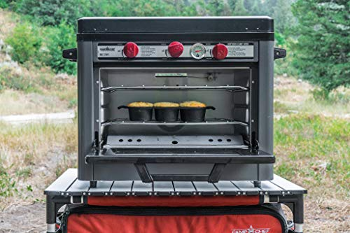 Camp Chef Deluxe Outdoor Camp Oven – Stainless Steel, Insulated Oven Box, Matchless Ignition – Charcoal Gray COVEND