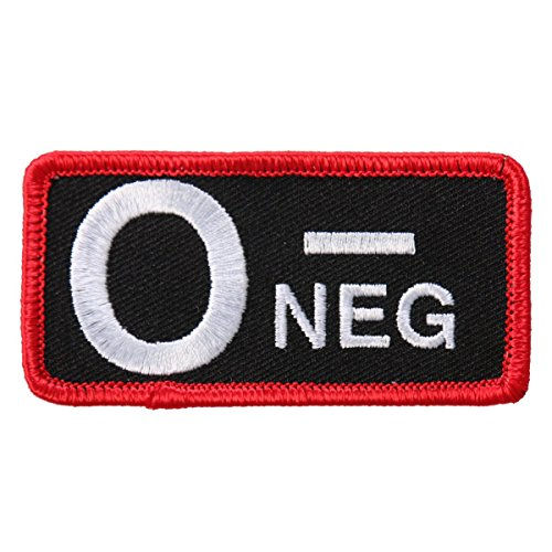 Hot Leathers, BLOOD TYPE O NEG, Iron-On / Saw-On Rayon High Thread PATCH - 3