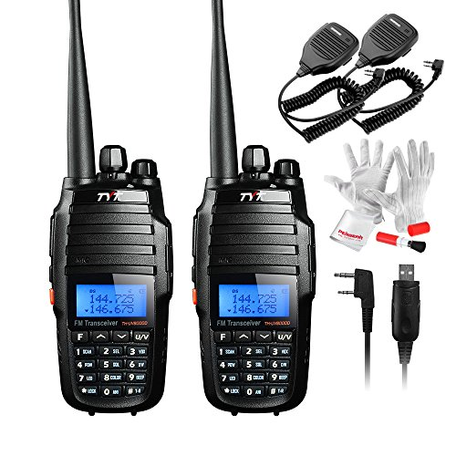 Handheld Dual Radio (TYT TH-UV8000D Ultra-high Output Power 10W Amateur Handheld Transceiver, Dual Band Dual Display Dual Standby Two Way Radio with Speaker and USB Program Cable- Pack of 2)