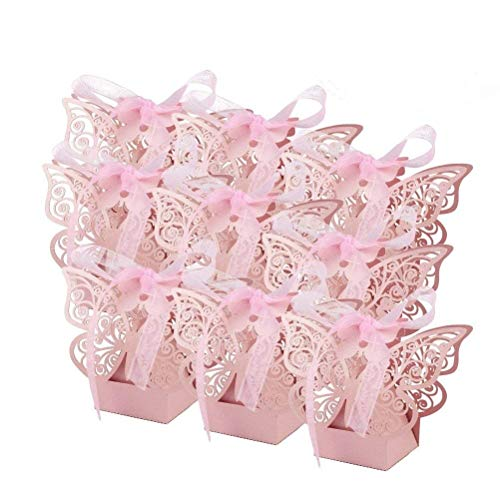 EBTOYS 50pcs Laser Cut Wedding Favors Candy Boxes Butterfly DIY Gifts Box with Ribbons for Wedding Bridal Birthday Shower Party Decors - Favor Butterfly Wedding