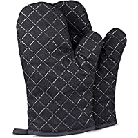 Oven Gloves, 1 Pair Silicone Non Slip Heat Resistant Waterproof Gloves Large Size with Cotton Lining for BBQ, Baking…