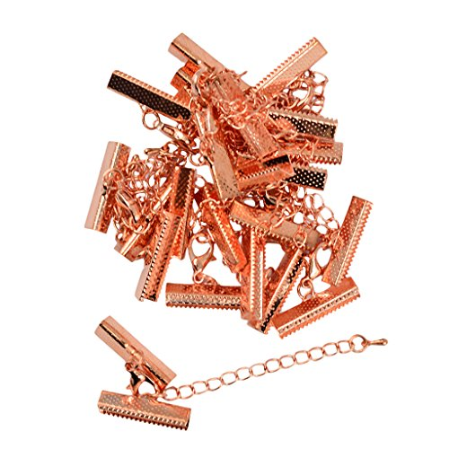 MonkeyJack 12 sets lobster Clasp and Crimp Clip Ends Extender Chain Rose Gold - 0.24 x 1 inch