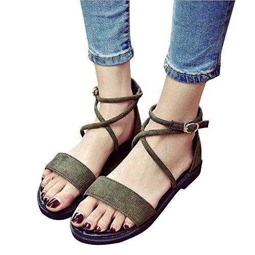 Green Buckle BININBOX Sandals BININBOX Flat Womens Shoes Gladiator Womens Suede tPqBwq5xz