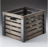Wooden Crate with Faux Leather Trim and Brass Colored Hardware; 15''x 12.5'' x 11''