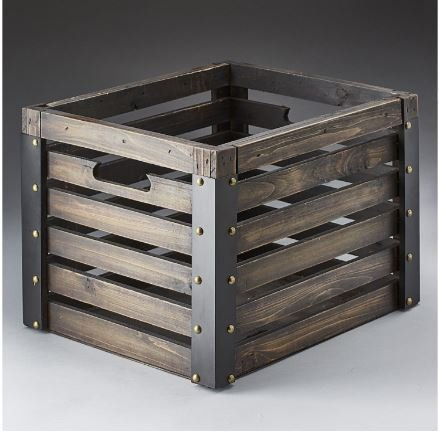Wooden Crate with Faux Leather Trim and Brass Colored Hardware; 15''x 12.5'' x 11'' by Wooden Crate