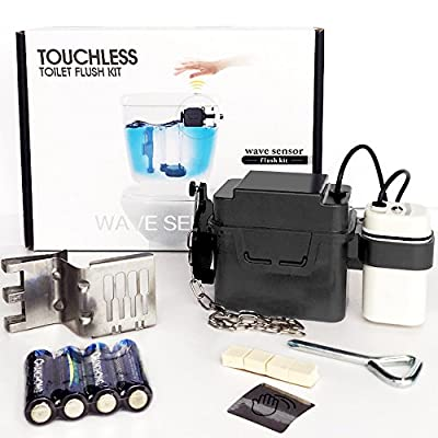 TECHO Touchless Toilet Flush Kit Wave Automatic Motion Sensor Battery Operated