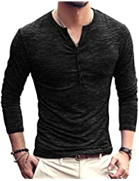 Henley Mens Tshirts Polo Cotton Long Sleeves Slim Fit V Neck Button Tops Tees