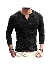 Ewingworld Mens T Shirts Cotton Long Sleeves Slim Fit V Neck Button Tops Tees