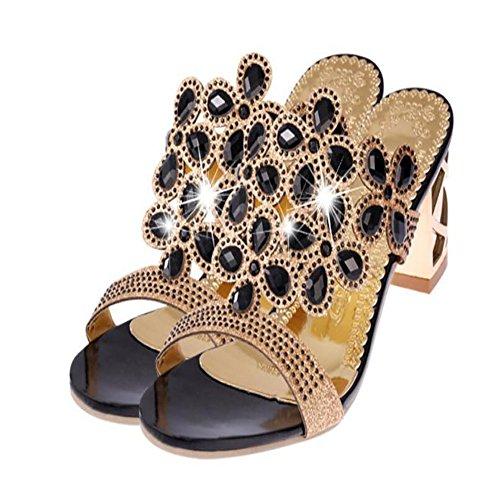Casual donna PU GAOLIXIA per Oro Nero Blu Comfort Sandali Scarpe da Black Summer O4wq16n