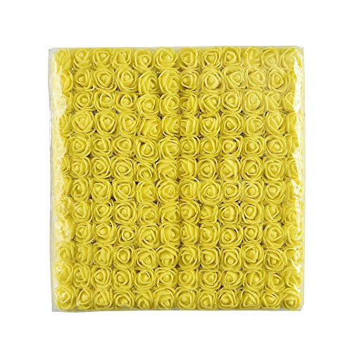 Daisy Rose Corsage - Foam flowers head 144 pcs 2 cm Mini Foam Rose Artificial foam roses Flower Bouquet Multicolor DIY party festival Home Decor Rose Flower Wedding Scrapbooking Decoration Rose (yellow)