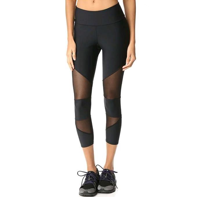 Han Shi Pants, Women Fashion Patchwork Mesh Yoga Fitness Sports Capri Leggings Trousers