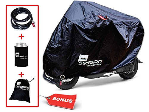 Motorcycle Cover Outdoor Storage – Covers for Mopeds Bikes Motorcycles Waterproof w/FREE Lock Must Have Bike Accessories Large Bag for Bicycle Road Electric Trike Mountain Dirt bike 50cc (Moped Cover)