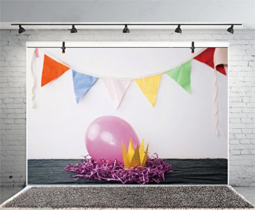 Leyiyi 5x3ft Photography Background Happy Birthday Backdrop Ballon Pajama Party Banner Glitter Crown Royalty Cement Wall Rough WoodenTable Tassel Ribbon Baby Shower Photo Portrait Vinyl Studio Prop