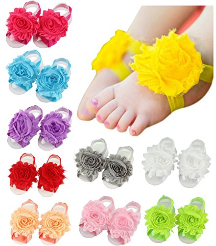 Toptim Baby Girl's Barefoot Sandals Flower for Toddlers (10 Pairs Shabby Flower)