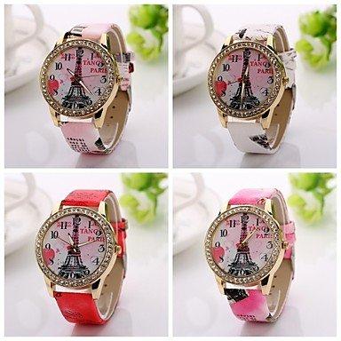 Bheema 2015 nueva hora de cuarzo reloj de pulsera de moda las mujeres de cuero reloj ocasional de lujo ven edificios vestido de cuero reloj de: Amazon.es: ...