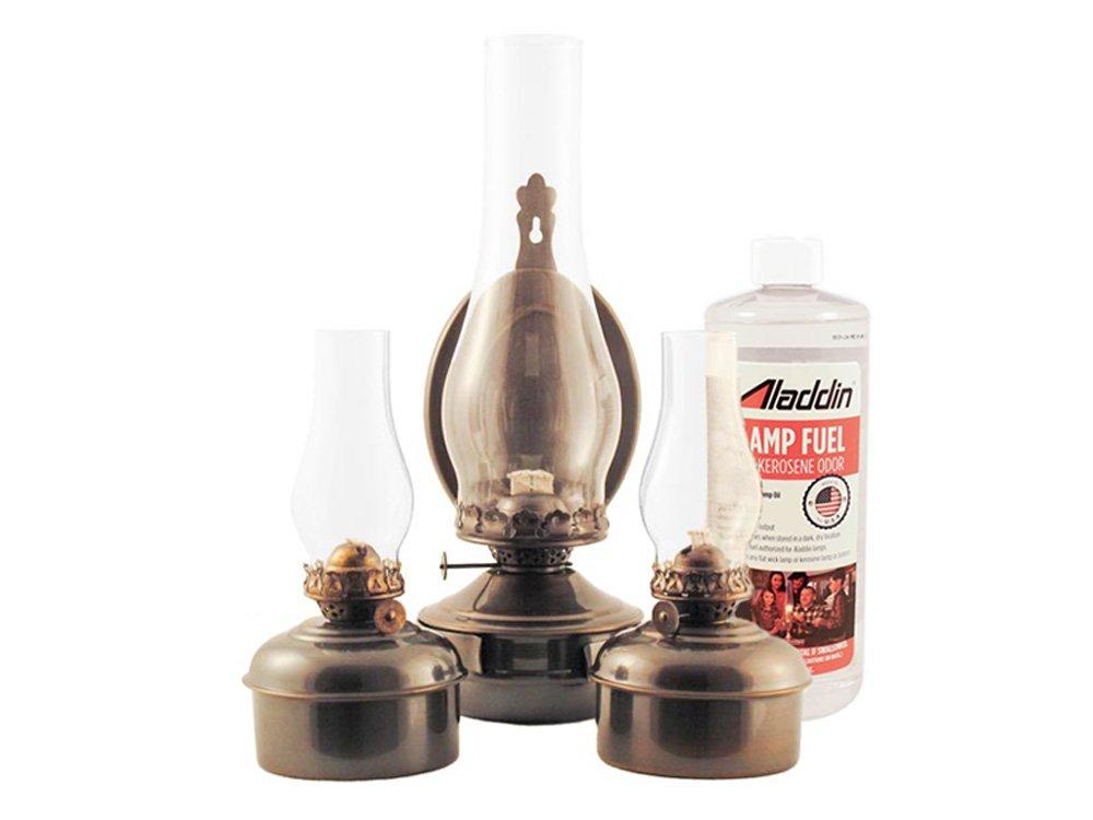 Emergency Lantern Kit #10A - 2 x Oil Lamps, 1 x Wall Lantern, Wicks + Lamp Oil