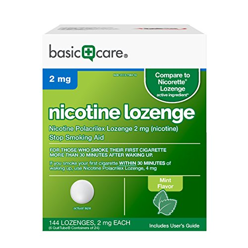Basic Care Nicotine Lozenge, 2mg, Stop Smoking Aid, Mint, 144 Count