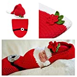 Kalevel® Soft Handmade Crochet Knit Baby Sleeping Bag ,Baby Photo Props,Baby Photograph Props,Baby Photograph,Infant Newborn Cute Baby Christmas Outfits,Newborn Xmas Outfit,Christmas Costumes for Baby,Santa Claus Costume for Baby (0-9 Months)