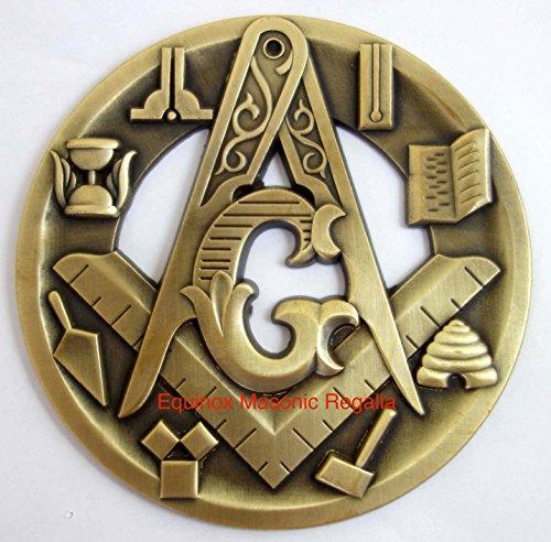 Freemasons Antique Style Medallion Auto Car Heavy Rear Emblem with Freemasonry Symbols Master Mason Pride Equinox Masonic Regalia
