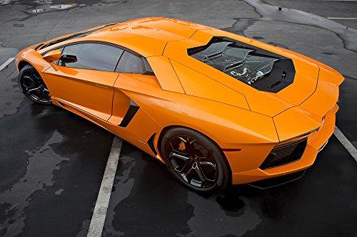 Poster of Lamborghini Aventador Left Rear Orange Hd Print