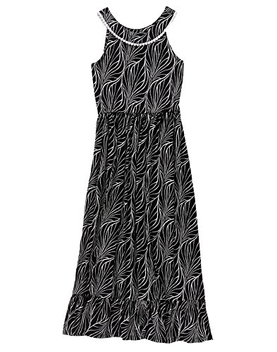 Crazy 8 Big Girls' Prnt Drs Blk Printed Maxi Dress, Black, S (Kids Black Dresses)