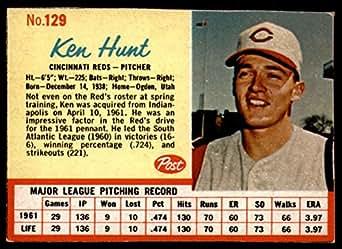 Amazon Com Baseball Mlb 1962 Cereal 129 Ken Hunt Excellent Reds