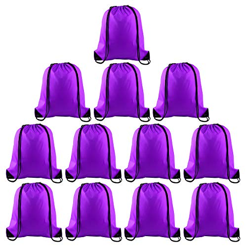 KUUQA 12 Pcs Drawstring Backpack Bags Sport Gym Sack Cinch Bags for Traveling and Storage (Purple) (Purple Drawstring Backpack)