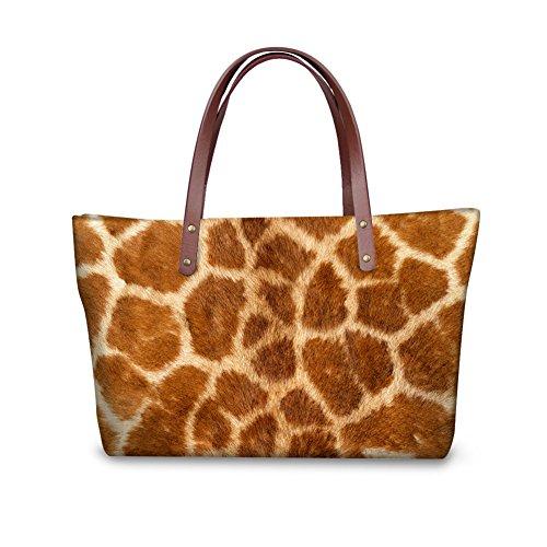 Mumeson Giraffe Print Women Girls Top-Handle Bag Waterproof Shoulder Handbag for Travel Work