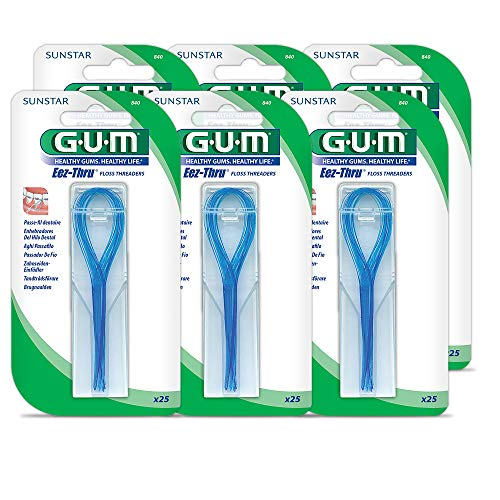 GUM EEZ-Thru Floss Threaders, 25 Count (Pack of 6) ()