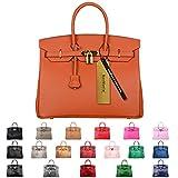 SanMario Designer Handbag Top Handle Padlock Women's Leather Bag with Golden Hardware Orange 30cm/12''
