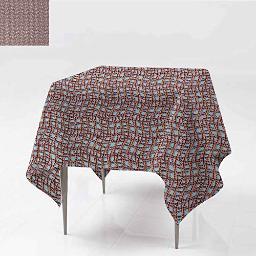 Wrinkle Resistant Tablecloth Modern Ocean Sailor Web Fish Net with Braid Like Lines on Blue Backdrop Image Print Brown and Blue Great for Buffet Table W70 xL70
