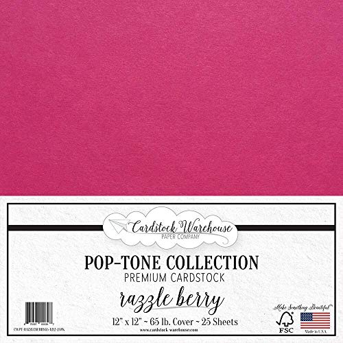 Fuchsia Berry - Razzle Berry/Fuchsia Pink Cardstock Paper - 12 x 12 inch 65 lb. Premium Cover - 25 Sheets from Cardstock Warehouse