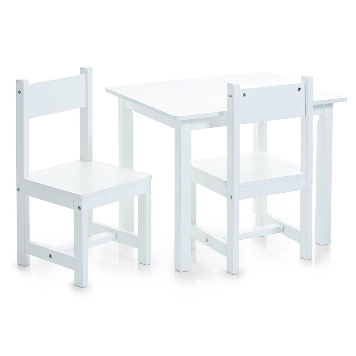 Zeller, Set di tavolino e sedie per bambini, 3 pz, Bianco (Weiß), dimensioni tavolo: 59 x 47 x 45 cm, dimensioni sedie: 28 x 28 x 51,5 cm 13450