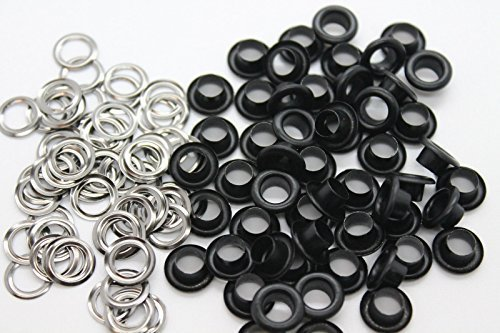 Trimming Shop 100 X 5mm Matte Black Eyelets & Washers Grommets For Leather Crafts Accessory For Adding Decorative Ribbons Lacing And Fabric In Art