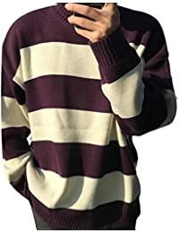 WSPLYSPJY Men's Stripes Print Loose Fit Turtle Neck Knit Sweater