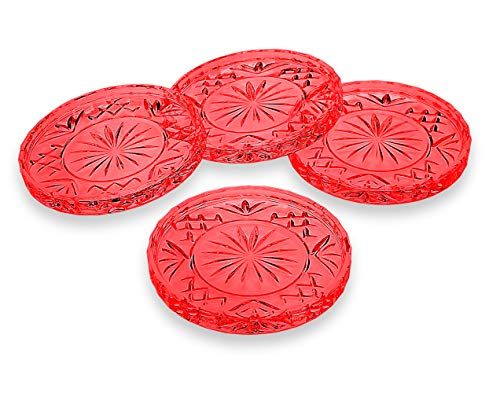 Godinger Coasters Dublin Crystal, Red - Set of 4