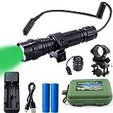 Gracetop Green light LED Coyote Hog Pig Varmint Predator Hunting Light Flashlight with Remote Pressure Switch