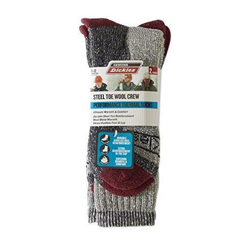 Dickies 2-Pair Premium Mens Steel Toe Thermal Wool Crew Socks 6-12 - All Colors (Black)