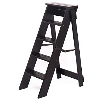 Incredible Amazon Com Wood Ladders Folding Indoor 5 Step Stool Wooden Machost Co Dining Chair Design Ideas Machostcouk