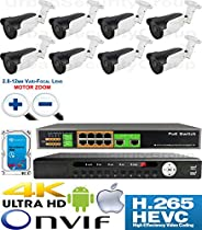 USG Motorized Lens 4MP 8 Camera Security System H.265 Ultra 4K PoE IP CCTV Kit : 8x 4MP 2.8-12mm 5MP Bullet Camera + 1x 36 Channel 8MP NVR + 1x 10 Port PoE Network Switch + 1x 4TB HDD : Business Grade
