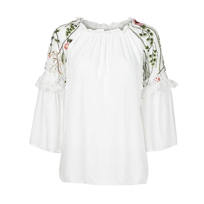 Moda Mujer Blusa PANY O-Cuello Bordado Floral Manga de Llamarada de Encaje T-