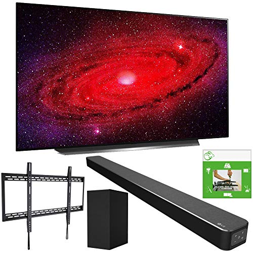 LG OLED77CXPUA 77-inch CX 4K Smart OLED TV with AI ThinQ (2020) Bundle SN6Y 3.1 Channel High Res Audio Sound Bar + TaskRabbit Installation Services + Monoprice Fixed TV Wall Mount