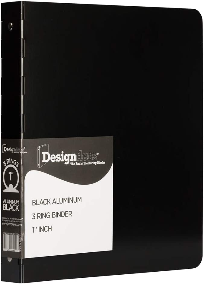 JAM PAPER Super popular specialty store Aluminium 1 inch Binders - Ring Binde Popular standard Aluminum 3 Black