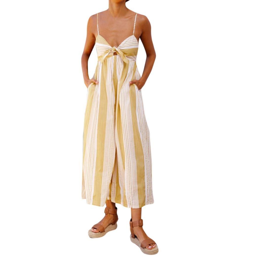 UOFOCO Summer Dress Women Stripe Print Jumpsuits Lady Loose Playsuit Long Trousers